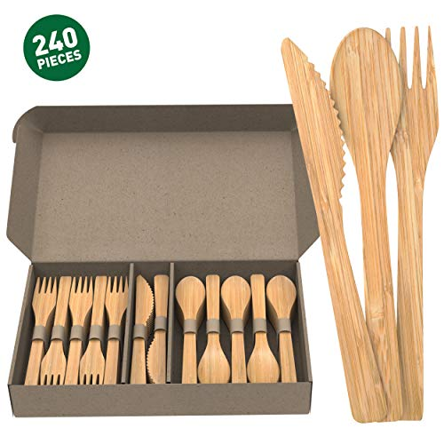 GreenBox Disposable Bamboo Cutlery Set | 240 Count (80 Forks, 80 Spoons, 80 Knives) | Reduce Plastic Waste with 100% Recyclable, Biodegradable, Sustainable, Compostable Cutlery
