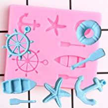 3D Sailboat Silicone Mold Life Buoy Starfish Anchor for DIY Desserts Pudding Fondant Chocolate Cake Cupcake Topper Decoration Candy Jelly Shots Jello Handmade Decor Mould Bakeware Accessories