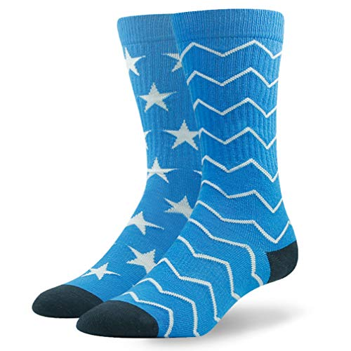Ristake Women Cotton Socks Stars Stripes Classic Design Fashion Socks,Lightweight Comfortable Carry-on Colored Mid Calf Traveling Business Working Crew Socks,Gift Birthday Large Shoe Size 8-10 1 Pack