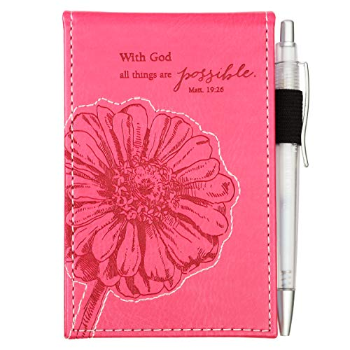 """Pink""""All Things are Possible"""" Pocket Notepad w/Pen - Matthew 19:26"""