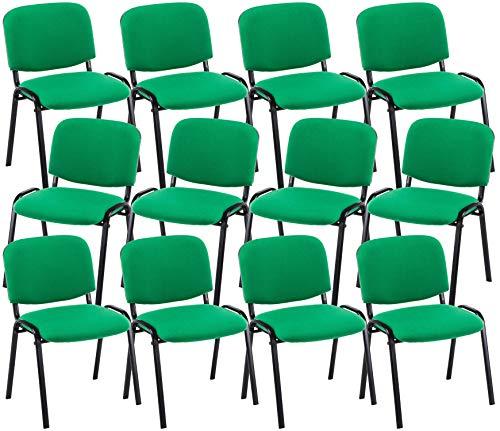CLP 12er Set Besucherstuhl Ken Stoff I Stapelstuhl Mit Robustem Metallgestell I Polsterstuhl Mit Rückenlehne, Farbe:grün