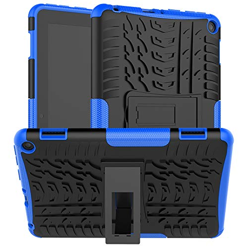 EpicGadget Case for Amazon Fire HD 8 / Fire HD 8 Plus (10th Generation, 2020 Released) - Lightweight Hybrid Rugged Dual Layer Kickstand Case Cover + 1 Screen Protector and 1 Stylus (Black/Blue)