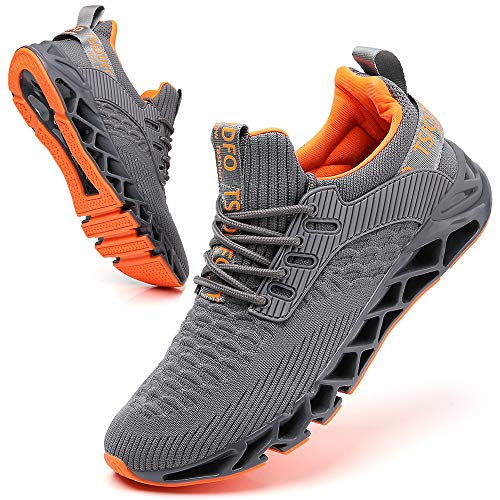 SKDOIUL Men Sport Running Sneakers Tennis Athletic Walking Shoes Mesh Breathable Comfort Fashion Casual Gym Runner Jogging Trainers Grey Size 10