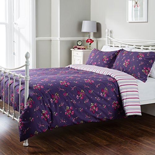 Pure Opulence Leona Floral Multi Stripe Super King Duvet Quilt Cover Bedding Set