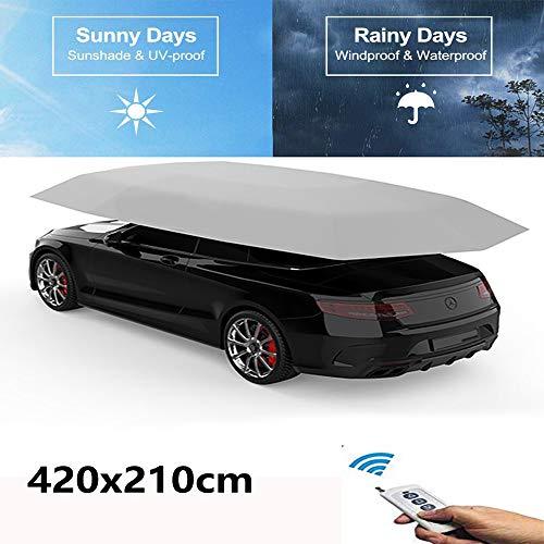 MAGO Auto Tent Automatische Auto Paraplu Bescherming Automatische Auto Cover Draagbare Zonwerende Shelters met Zonwering Anti-UV, Waterdicht, Sneeuw Wind Proof 420X210cm (Geheel Automatisch)