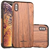 NeWisdom new iPhone Xs Max Case Wood, Unique Slim Thin Soft Protective Anti-Shock Shockproof for iPhone 10S MAX (6.5' iPhone 2018 Sandal)