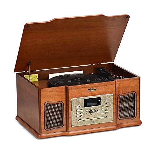 Shuman Wooden 8-in-1 Bluetooth Music Centre with 3-Speed (33, 45, 78 RPM) LP Turntable, DAB Digital/FM Radio, CD/Cassette Player, USB Playback/Recording, Built-in Speakers (MC-274DBT)