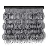 LCAWEI - Pelucas onduladas para mujer (40 cm de largo, se pueden fijar en gorra/gorra) - Pelucas sintéticas de aspecto natural para invierno, talla única (sin sombrero) (3)