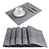 Homcomoda Placemats for Dining Table Set of 6 Woven Washable Place Mats for Kitchen Table (Gray)