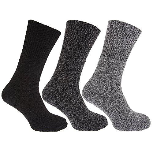 Universaltextilien Herren Thermo-Socken, 3er-Pack, Wollanteil (39-45 EU) (Brauntöne)