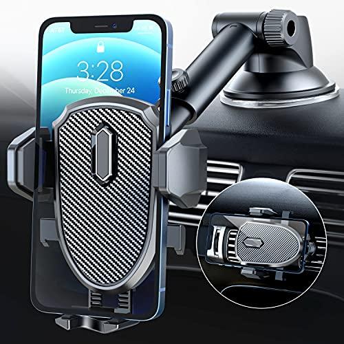 車載ホルダー スマホ車載ホルダー 360度 伸縮アーム ワンタッチ 粘着ゲル吸盤&エアコン吹き出し口式兼用 スマホスタンド 車 携帯ホルダー iphone 車載ホルダー 取り付け簡単 手帳型ケース対応 自由調節/日本語説明書付き/4-7インチ全機種対応 i