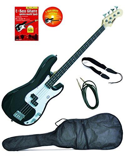 E-Bass P-Style, schwarz, inkl. Klinkenkabel, Gurt, gepolsterte Tasche mit Notenfach, Lehrbuch Karaoke CD