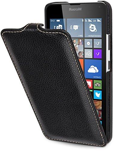 StilGut UltraSlim Hülle, Hülle aus Leder kompatibel mit Microsoft Lumia 640/640 Dual SIM (nur kompatibel mit orangener & Blauer Version), schwarz