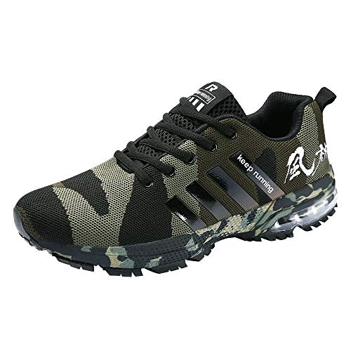iHPH7 Shoe Cushioning Trail Running Runner Woven Camouflage Mesh Breathable Sneaker Running Shoes Sports Shoes Casual Shoes Men (45,Army Green)