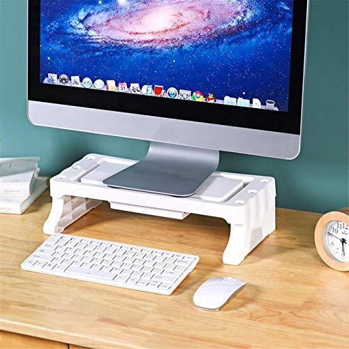 Soporte para monitor de ordenador, monitor de escritorio, LED, LCD, portátil, soporte organizador de escritorio con soporte para tablet y teléfono