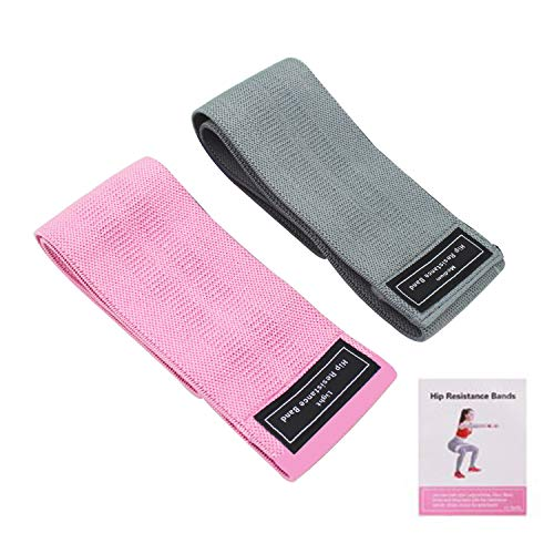 Booty Bands ,Fabric Resistance Bands (3 Pack Set) for Legs and Butt, Exercise Fitness Bands for Women and Men, Heavy Elastic Exercise Bands for Working Out Home/Gym… (Pink+Gray)