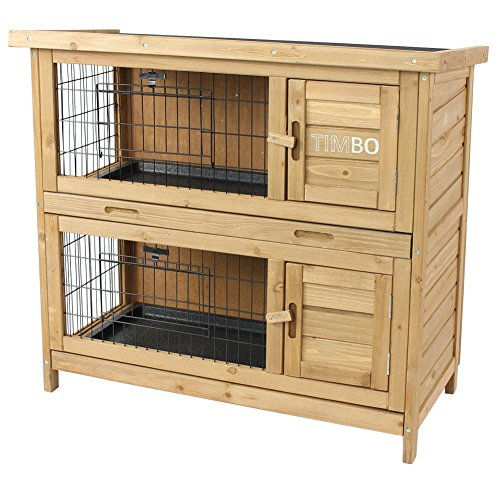 Kaninchenstall / Hasenstall EMMA auf 2 Etagen - 92x45x81 cm - Kleintier-Stall für Draußen. Der wetterfeste, doppelstöckige Stall für 2 Kaninchen - TIMBO Hasenkäfig und Hasenstall