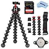 Joby GorillaPod 5K Kit + Rig Upgrade, Professional Tripod Stand with Ball Head for DSLR or Mirrorless Cameras with Lens (up to 11lbs/5kg) Black/Charcoal Bundle with 64GB SD Card, Cloth