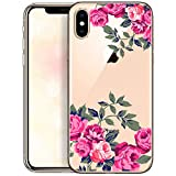 Cover Compatible with iPhone X iPhone Xs Case Transparent Slim Thin Bumper Silicone Protective Bumper with Design Delicate Roses