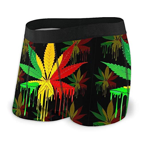 Herren Comfort Soft Boxershorts Reggae Rasta Marihuana Leaf Weed Gr. M, Schwarz