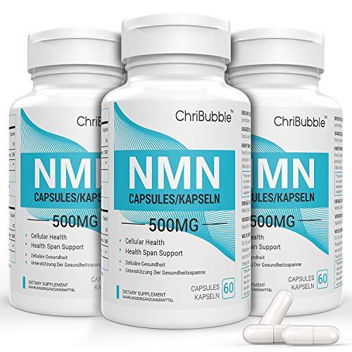 3 Pack NMN Kapseln mit Maximaler Stärke | 500 mg pro Kapseln | 180 Kapseln Nicotinamide Mononucleotide | Leistungsstarke NAD + Level