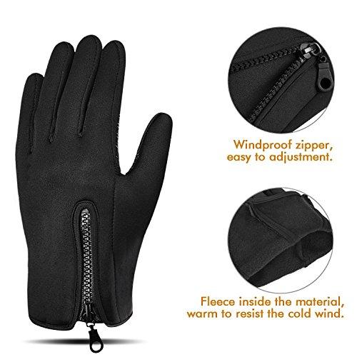 Touchscreen Handschuhe, Aodoor (Grösse L) Herbst Winter Unisex Warme Fahrradhandschuhe Winddicht und Touchscreen für Smartphone Sport Handschuhe Motorrad Jagd Kletter Handschuhe, Schwarz - 5