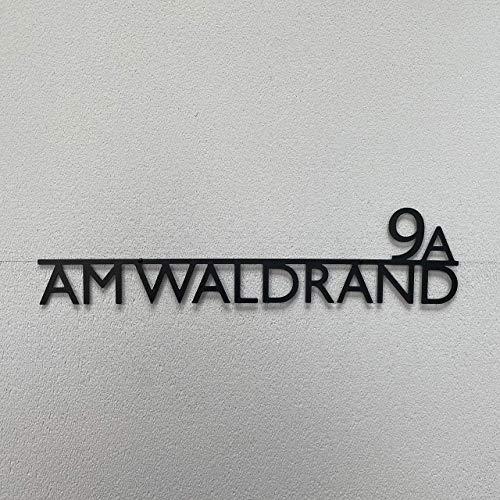 Steelmonks Straßenschild mit Hausnummer. Metall Adressschild und Plakette als Haustürschild oder Einweihungsgeschenk.