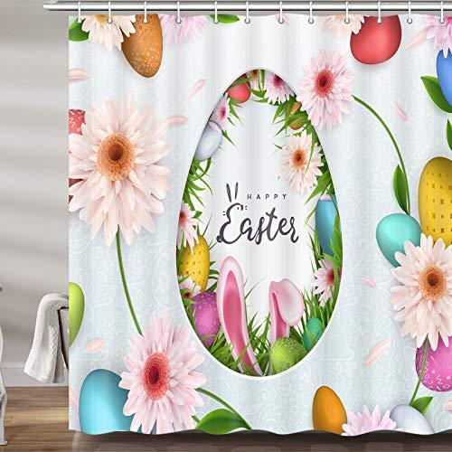 JAWO Oster-Duschvorhang für Bad, Ostereier, Hasenohren mit Blumen, schimmelresistent, Polyester, mit Haken, 177,9 x 177,8 cm