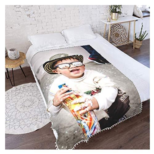 Personalisierte mit Eigenem Foto Decke,Fotodecke mit Foto Fleecedecke Kinder Erwachsene 3D Kuscheldecke Flanell Mikrofaser Wohndecke Decke Couchdecke Sofaüberwurf 40 * 30in
