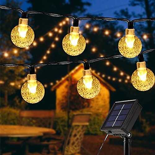 ECOWHO Solar Fairy Lights Outdoor, 26Ft 40 LEDs Crystal String Lights 8 Modes with Memory IP65 Waterproof Globe Garden Lights for Patio, Yard, Christmas Tree, Home, Wedding Decorations(Warm White)