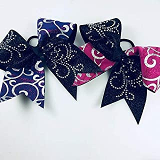 Two Filigree Hair Bows - Pink and Purple Bows With Rhinestones - Large Cheerleading Style Bows