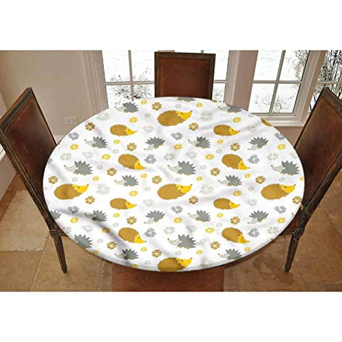 LCGGDB Hedgehog Elastic Edged Polyester Fitted Tablecolth -Autumn in The Woods- Large Round Fitted Table Cover - Fits Tables up to 45-56' Diameter,The Ultimate Protection for Your Table