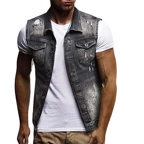 Loeay Männer Slim Fit ärmellose Jeansjacke Sommermode Klassische Jeansweste Schwarz Umlegekragen Jeans Weste Oberbekleidung Mantel Grau L