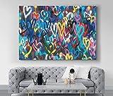 Love Hearts Graffiti Banksy Print, Banksy Hearts Wall art, Banksy Love Hearts canvas, Banksy Graffiti art, Banksy print, Love art, heart art 1 Panel : 16x24 inches (40x60cm)