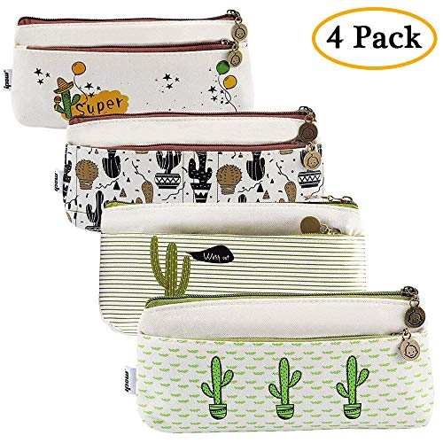 Ipow[4 PCS] - Estuches escolar cactus, Estuches escolares dos cremalleras para oficina, estudiante, escuela, suministros para niños, niñas, bolígrafo