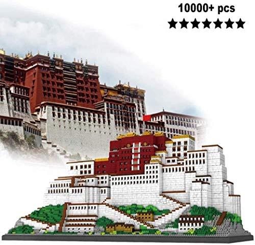 hsj Modellbausätze, Micro-Diamant-Bausteine, 10000 PC + China Architektur Potala-Palast Schloss Tempel tibetischen Buddhismus City Square, DIY BAU Geschenk Exquisite Verarbeitung