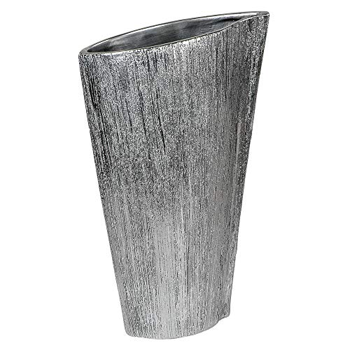 Formano Deko-Vase Stripes aus Keramik im Chrom-Optik, Flach, Höhe 37cm, 1 Stück, Silber