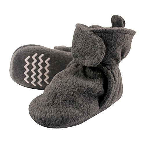 Hudson Baby Unisex Cozy Fleece Booties, Dark Gray, 6-12 Months