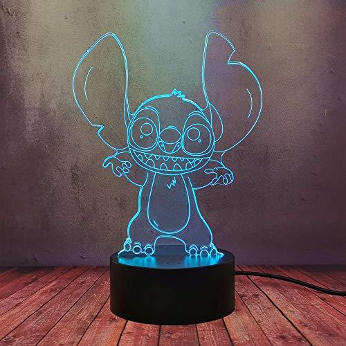 Lilo & Stitch - Lámpara LED para dormitorio, táctil + mando a distancia, lámpara de escritorio acrílico 3D, 7 colores, lámpara de mesa, regalo para cumpleaños de Navidad