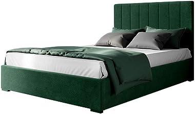 Velvet Fabric Upholstered Bed Frame Bed Base Double Bedroom Furniture Green
