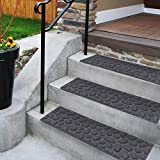"Comme Rug Stair Treads with Rubber Backing,Non-Slip,Indoor Outdoor Step treads,Set of 6,Grey Stone Pattern,8.5"" x 30"""