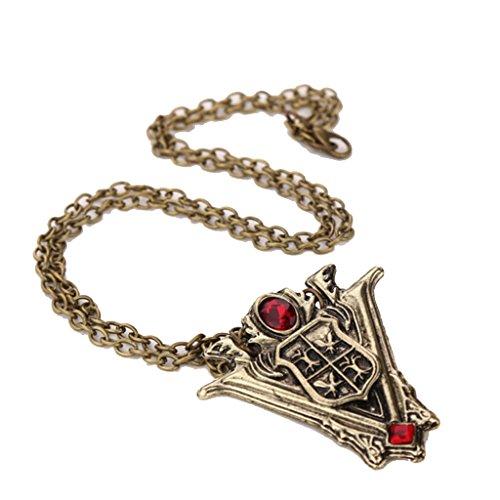 Halskette mit Anhänger, Motiv: Twilight New Moon Wappen, Volturi, Berge, Turm, Uhr