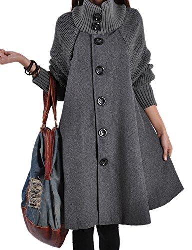 Hahaemma - Cappotto invernale da donna, lungo, in pile, con bottoni, stile swing, largo, con colletto alto grigio. 5X-Large