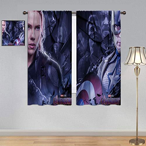 ARYAGO Cortinas de tratamiento para ventana de habitación de niños y niñas, cortinas de superhéroes película Black Widow & Capitán América para habitación de niños de 150 x 200 cm