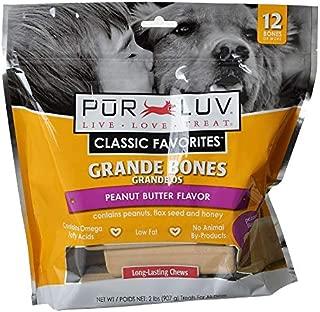 Pur Luv Grande Bones for Med & Large Dogs, Peanut Butter