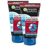 Garnier Maschera Viso Nera Pure Active, Azione 3 in 1: Gel detergente, Scrub e Maschera Pu...