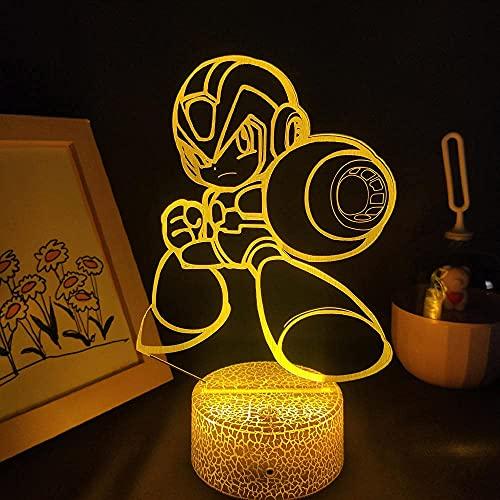 FZRZGDSH Lampada 3D Illusion Night Light Rockman Mega Man Lava Lamps LED RGB Neon Touch Presente per Amici Bambini Sala Giochi Tavolo Scrivania Decorazione Colorata con Telecomando