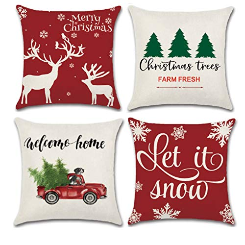 YHmall 4 Pack Christmas Pillow Covers 18 x 18, Snowflake Decorative Christmas Holiday Throw Pillow Covers, Farmhouse Christmas Pillow Covers