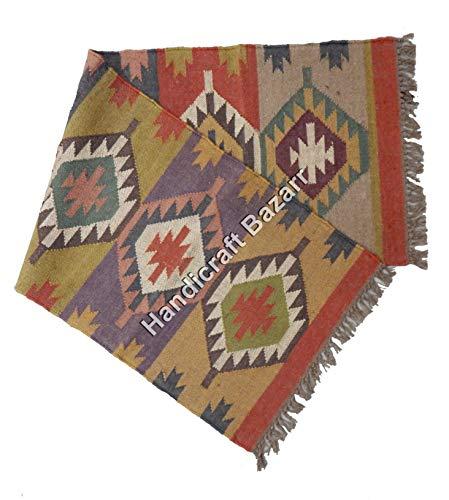 Handgefertigter Bazarr Wendeteppich aus Wolle, Juteteppich, Kilim Läufer, Boden, Teppich, indische Matte, groß, handgewebter Teppich, indischer Teppich, Dare Dhurrie