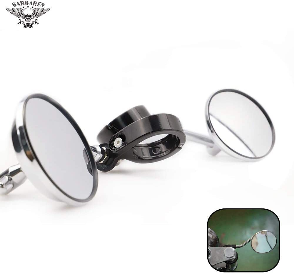 BarBaren Motorcycle Sale price Mirrors Free Shipping New 39-41mm Fork Mirror Compa Side Mount